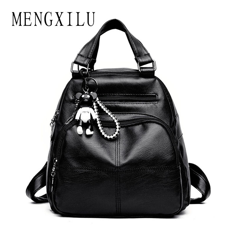 Mengxilu Cute Bear Plaid Women Backpack For School Teenager Girls Soft Pu Leather Backpack Female School Bag Casual Classic