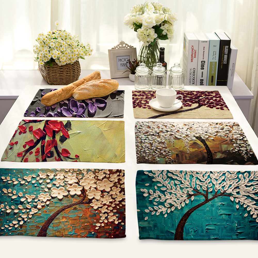 Art tree printing Waterproof Non-Slip Placemat Table Mat Cabinet Closet Kitchen Drawer Tableware Pad Mat Desk Decoration