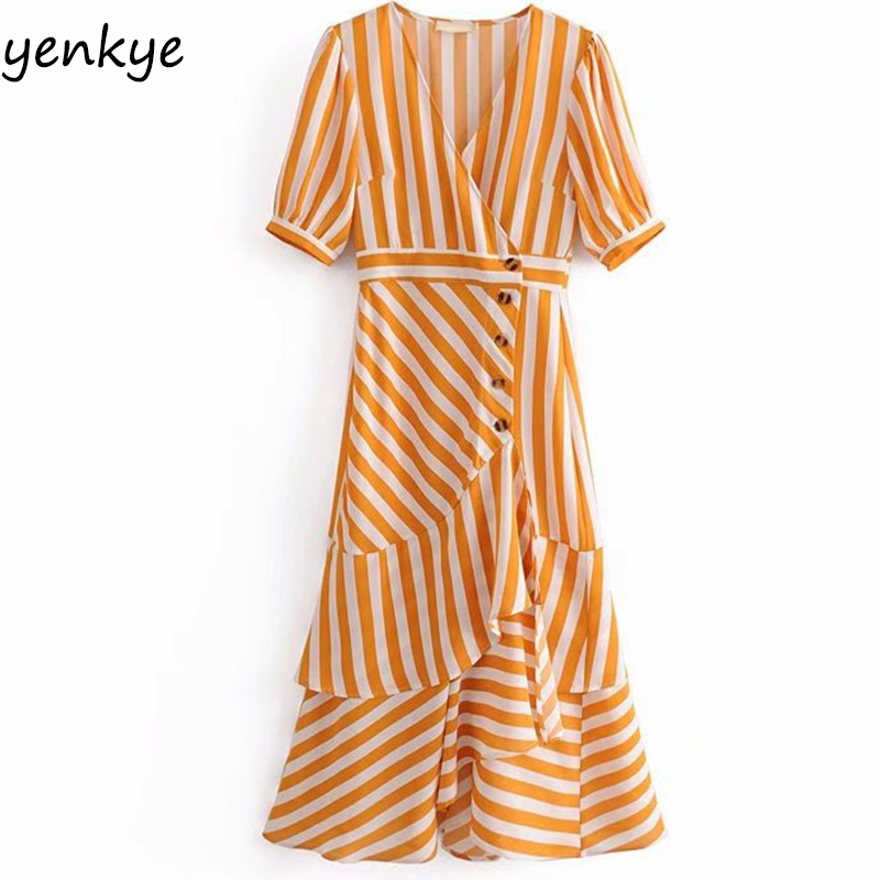 Striped Summer Dress 2018 Women Crossover V Neck Single breasted Layered Ruffle Dress Female Short Sleeve A line Midi Dress