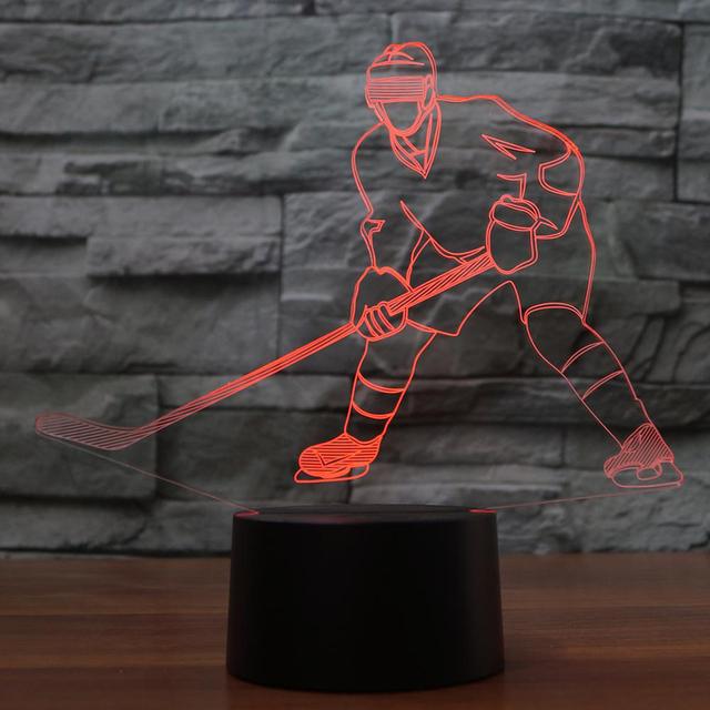 3D Visual Ice Hockey Player Shape 7 Color Changable Usb 3D Night Light Home Illumination Bedroom Decor