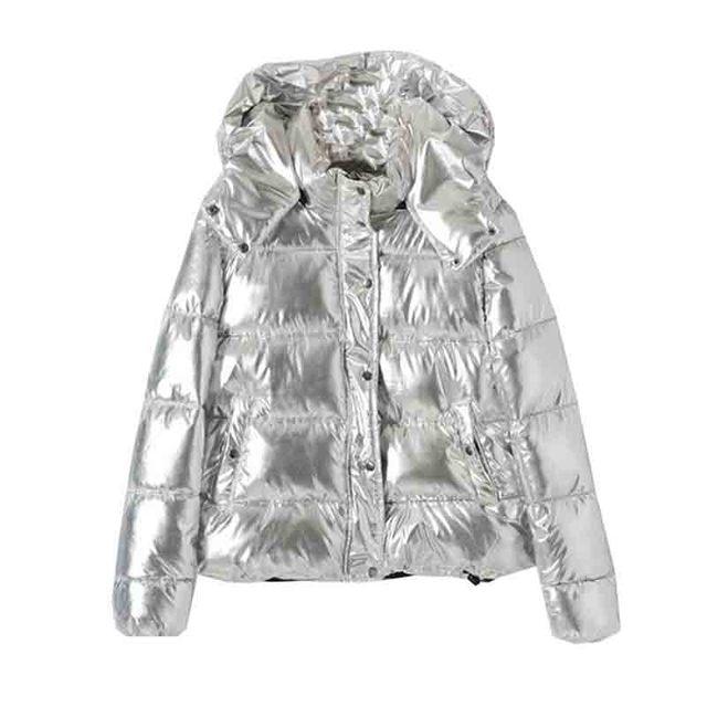 2019 מכירה לוהטת חורף עבה חם מעיילי מעילי אופנה כסף כיסי סלעית מרופד כותנה מעיילי מעילים מקרית נקבה להאריך ימים יותר