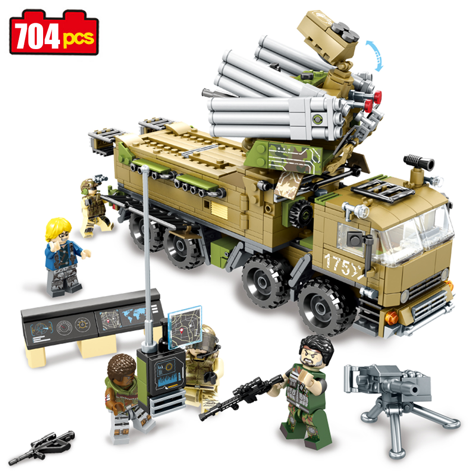 704pcs Military Army Building Blocks DIY Command Vehicle Truck Compatible Legoe Star Wars Figures Bricks Xmas Gifts Toys For Kid