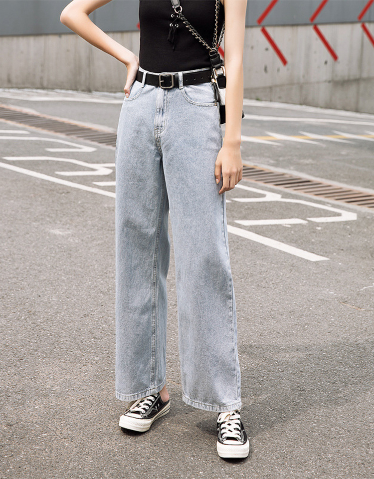 SAILING LU Denim Bleached Pants Spring 2019 Female Wide-Leg Loose Trousers High Waisted Leisure Washed Jeans Full Length WKN626
