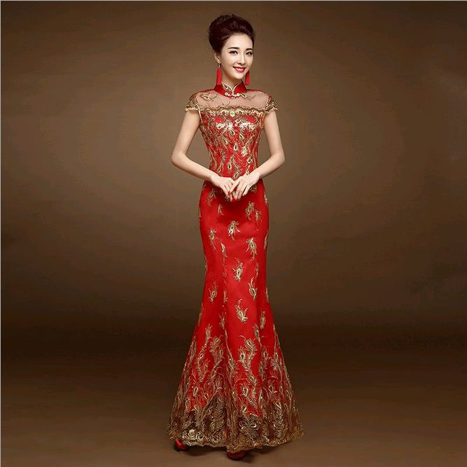 2016 new red lace cheongsam dress bride wedding qipao for Wedding dresses for brides over 65