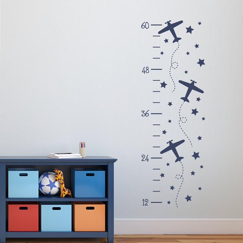 Baby Nursery Growth Chart Wall Decal, Airplane Growth Chart Wall Stickers For Kids Rooms, Children Room House Decoration, N61 image