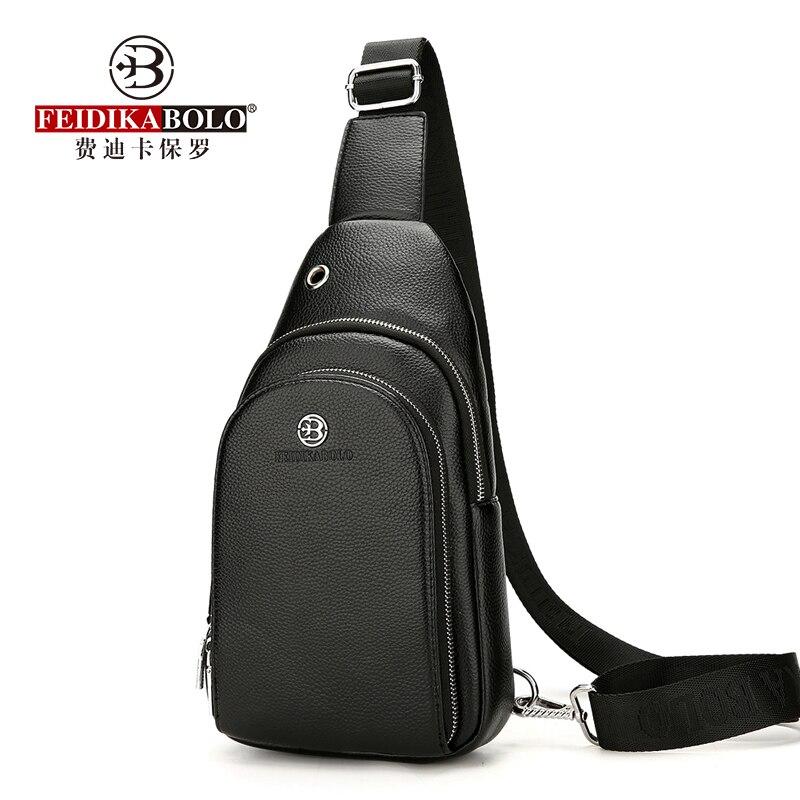FEIDIKABOLO Classic Color Chest Bag Male Fashion Personality Headphone Jack Leisure Travel Bag High Quality Messenger Bag