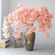 3pcs Natural vertical silk cherry blossom flower vine DIY wedding Christmas decor Cherry tree artificial bouquet 135cm