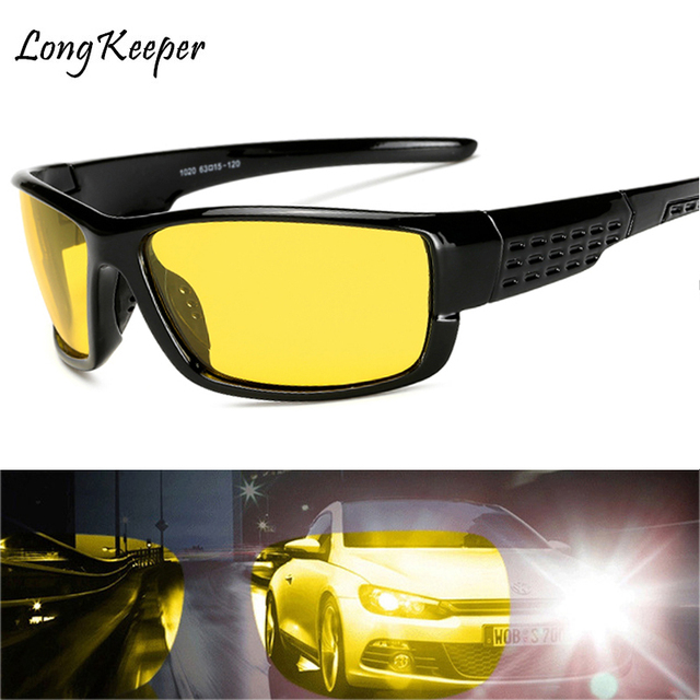 7b18ed47424 Yellow Night Vision Mens Polarized Lens Mirror Sunglasses Top Quality Anti-glare  Male Driving UV400