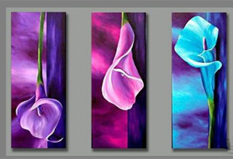 3 Panel Purple Pink Blue Flower Oil Painting on Canvas Handmade Modern Home Decor Hand Painted Acrylic Paintings Wall Pictures