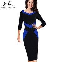 Nice Forever Elegant Optical Illusion ColorBlock Wear To Work Vestidos Bodycon Women Office Business Sheath Slim