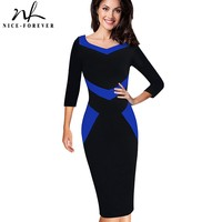 Nice Forever Elegant Optical Illusion ColorBlock Wear To Work Vestidos Bodycon Women Office Business Sheath Slim