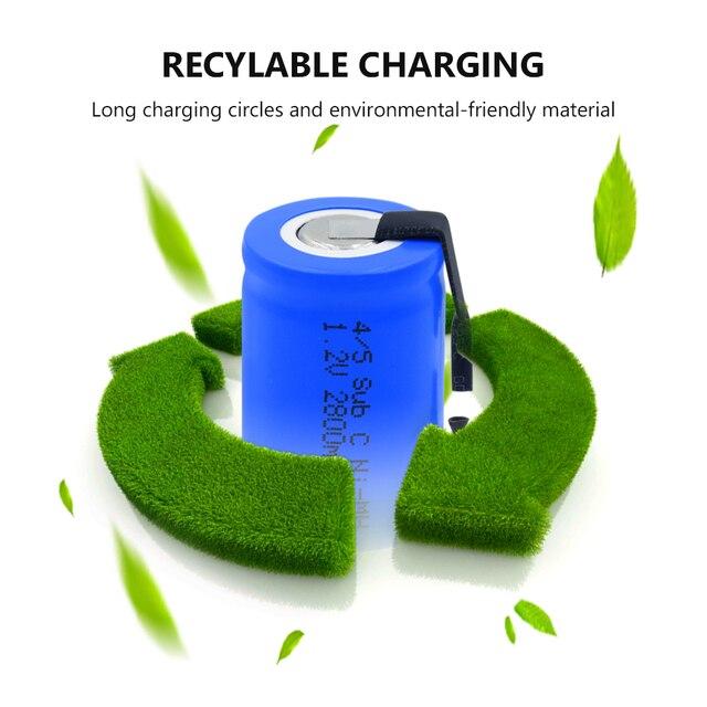 4/5SC SC Sub C li-ion Li-Po Lithium Battery 1.2V 2800mAh Rechargeable Ni-MH Batteries With Welding Tabs