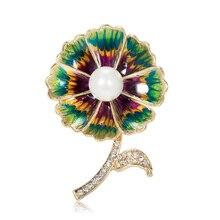Classic Crystal Rhinestones Big Flower Brooches for Women Coat Wedding Bouquets Pin