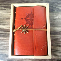 Classic Notebook PU Leather Blank Pages Vintage Notebooks Pirate Copper Plated Sea Anchor Travel Retro Stationery