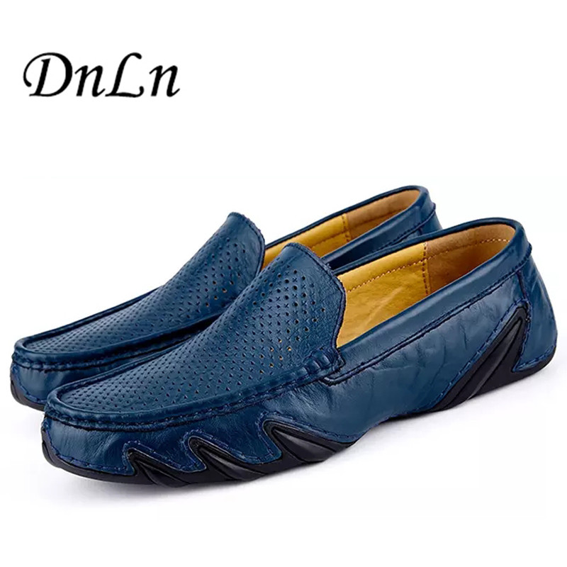Size 38-44 Summer Causal Shoes Men Loafers Genuine Leather Moccasins Men Driving Shoes Breathable Flats For Man D30 summer causal shoes men loafers genuine leather moccasins men driving shoes high quality flats for man