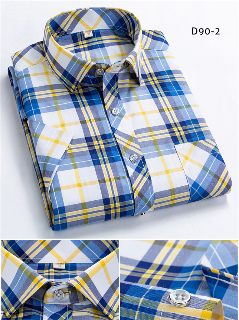HTB1QniLU9zqK1RjSZFpq6ykSXXah Checkered shirts for men Summer short sleeved leisure slim fit Plaid Shirt square collar soft causal male s with front pocket