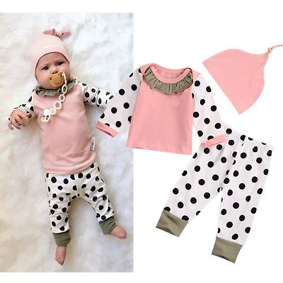 Baby Boy Girl Outfits Pink Tops Dot Pants Legging Hat Clothes 3PCS Set