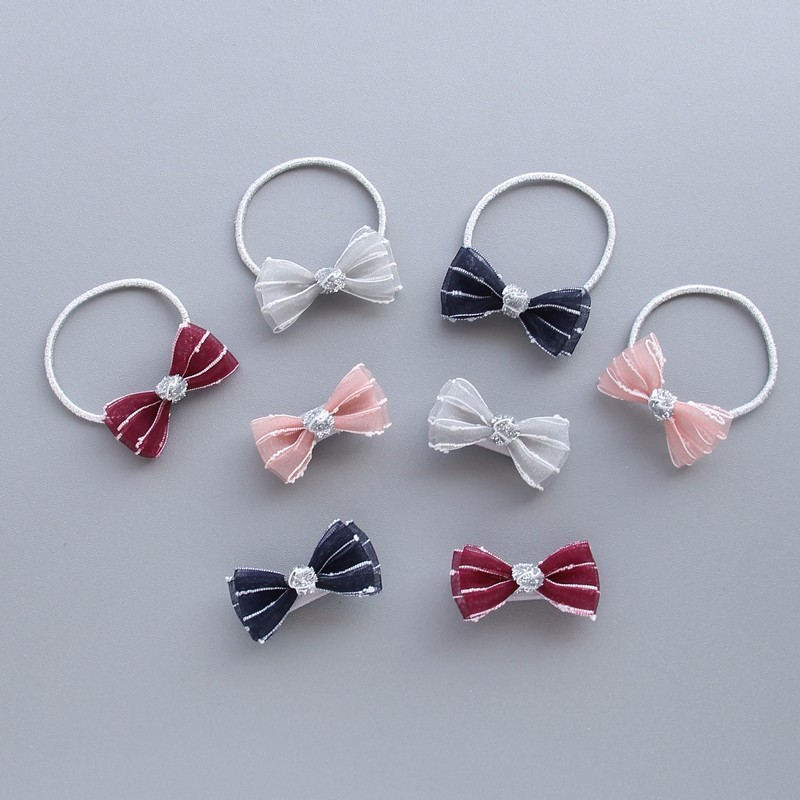 1 PCS  New Striped Bowknot Cute Baby Clips Girls Hairpins Cartoon Hair Clips Kids Hair Ropes Children Accessories minnie mouse ears baby girl hair clip children clips accessories kids cute hairclip for girls hairpins hair clips pins menina