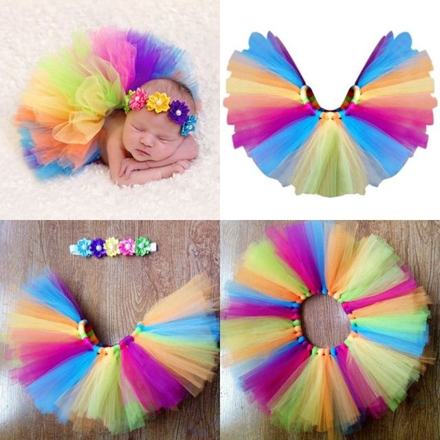 2017 new Cute colorful Baby Headdress flower+Tutu Rainbow Skirt Girls Photography Prop Outfit 0-4M