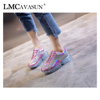 LMCAVASUN fashion transparent platform sports shoes tendon casual shoes rhinestone inlaid women's shoes Daddy Shoes JF1613