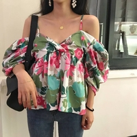 Sexy Strapless Blouse Summer Tops 2018 Print Floral V Neck Chiffon Blouse Fashion Casual Korean New Women Clothing Free Shipping