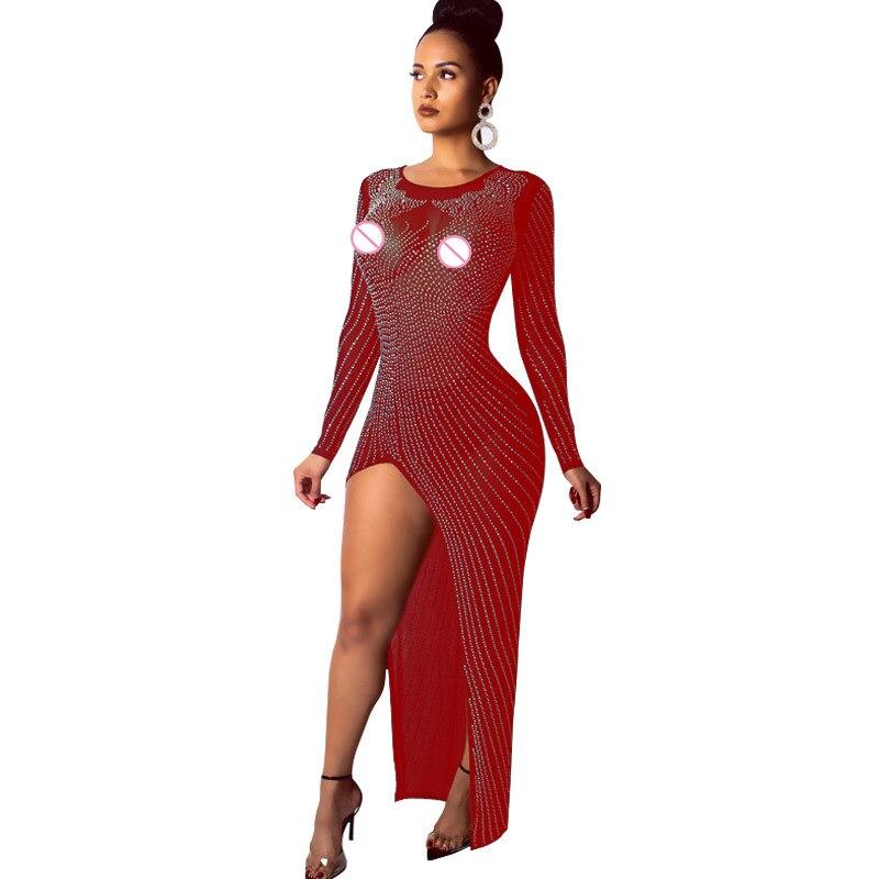 Sexy à manches longues Perspective robe maille Patchwork robe élégante femmes paillettes strass haute Split robe de fête d'anniversaire