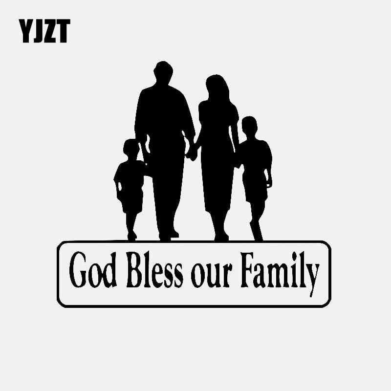 YJZT 15CM*13.5CM God Bless Our Family For Car Sticker Truck Window Vinyl Decal Black/Silver C3-2161