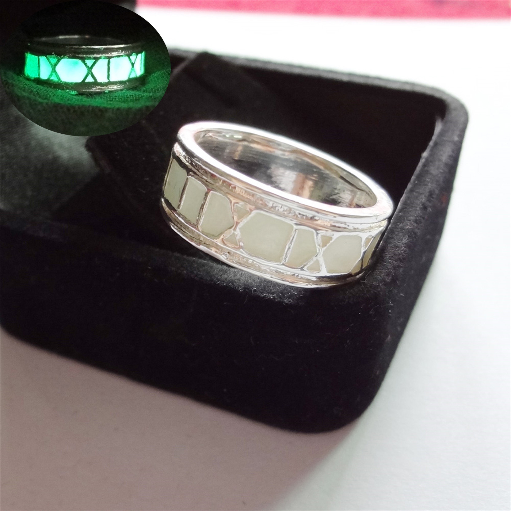 Green Blue Charm Luminous Ring Glowing In Dark Silver Color Rings For Women  And Men Vintage