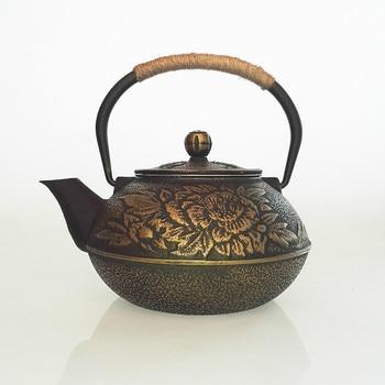 0.9L peony iron cast iron teapot South iron teapot Home Furnishing taste ornaments