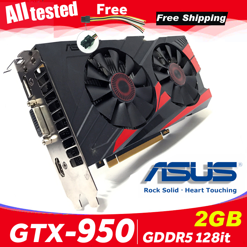 Asus Graphics-Cards Computer Nvidia DDR5 GT950 Express-3.0 Desktop-950 PC GTX-950-OC-2GB
