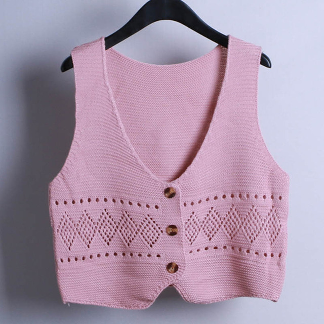 Loose Sleeveless Crochet Knit Vest Short Sweater Women V Neck Casual