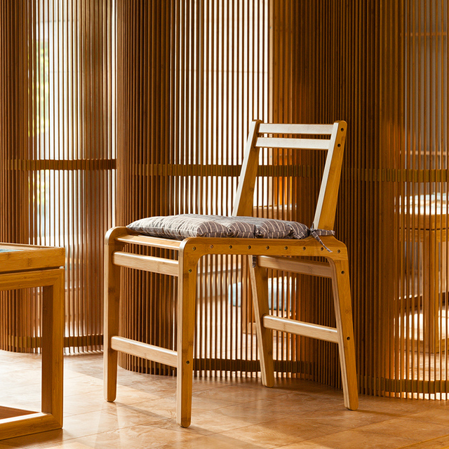 Bamboo Dining Chair Recovering Room Chairs Office Arm Backrest For Living Kitchen Furniture
