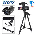 "Ordro full hd digital video camcorder câmera dv 1080 p 24mp 3 ""lcd 16x zoom + tripé"