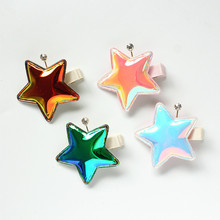 Crystal Stars 4pcs/lot New 2018 Pure Handmade Lovely 5cm Hair Clips Kids Shinning Star Shape Accessories Princess Headwear