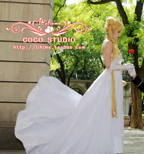 Free shipping Sailor Moon Princess Serenity Tsukino Usagi Dress Cosplay Costume Wedding Gown for party/women