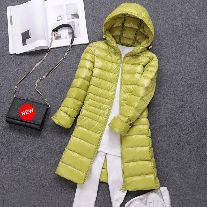 7XL Winter Women White Duck   Down   Parka Candy Color Soft Jackets Women Long Duck   Down   Jacket Outwear Ultralight Hooded   Coats   2019