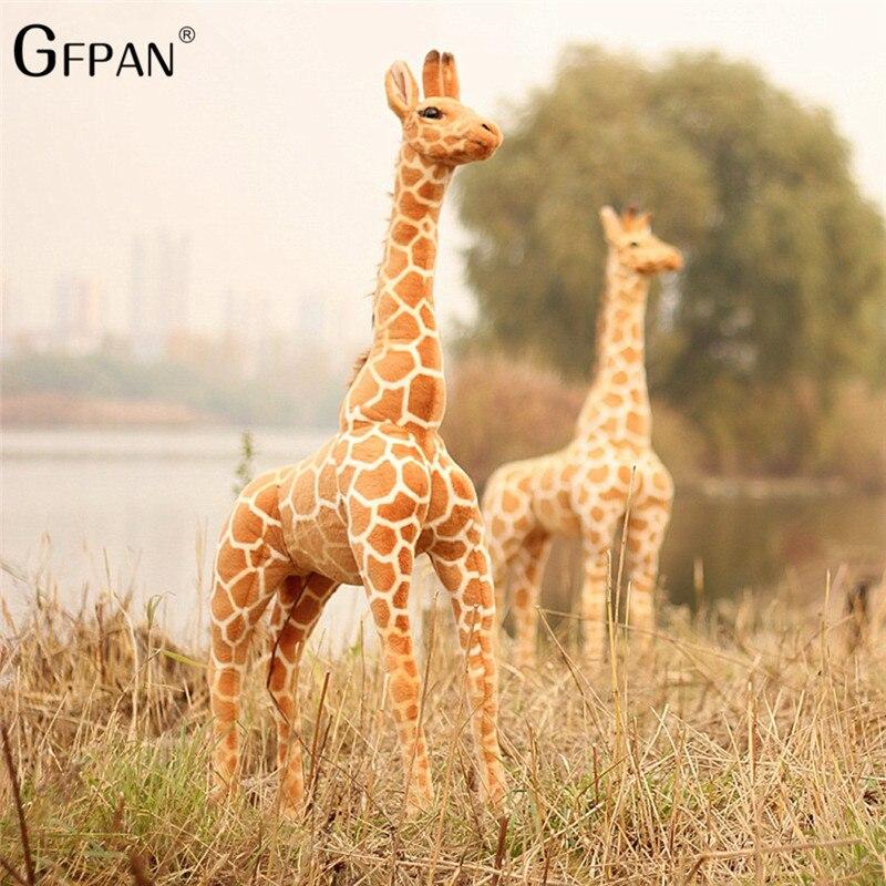 Hot 120cm Super Giant Simulation Giraffe Plush Stuffed Toy Soft Deer Animal Home Accessories Cute Giraffe Doll Children Gifts