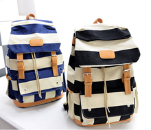 Hotselling Women Casual Backpack School Student Bags Big Capacity Striped Backpacks BolsaTraveling Bag