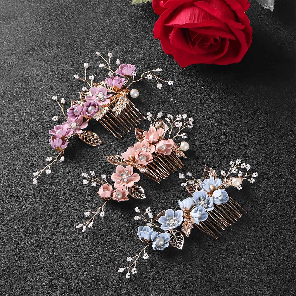 1 PC Crystal Mahkota Rambut Sisir Daun Emas Tiara Biru Bunga Bulang Prom Pengantin Pernikahan Pin Rambut Perhiasan Aksesoris Rambut