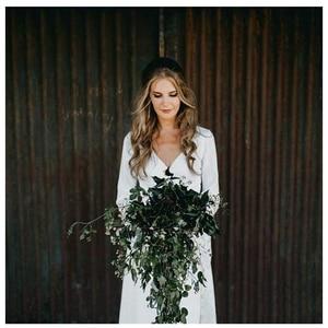 Image 5 - LORIE White Boho Wedding Dresses Lace Flare Sleeves V Neck Princess Bride Dress  Floor Length Wedding Gown 2019