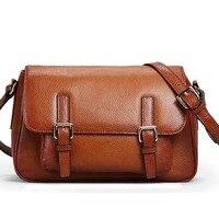 Female Genuine Leather Bags Vintage Women Messenger Bags Cross Body Cover Satchels Solid Designer Handbags High