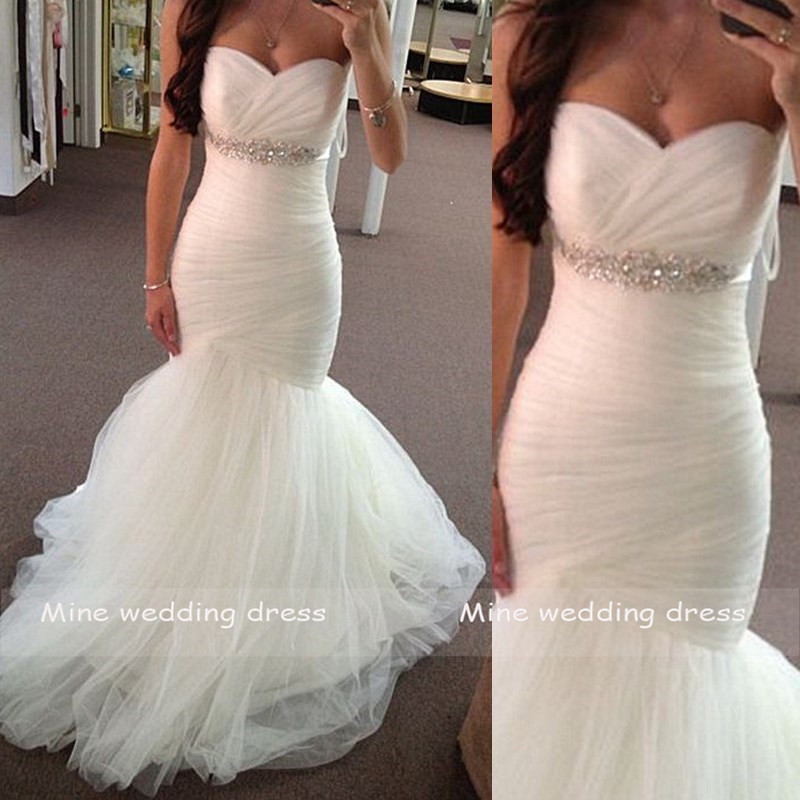 Mermaid Wedding Dresses Vestido De Novia Sweetheart Sleeveless Bridal Dress Tulle With Pleat Wedding Gown