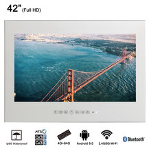 "Souria 42"" Smart Vanishing Mirror IP66 Magic Mirror Advertising Display Hotel Waterproof SPA TV Wall Mounting Android LED TV(China)"