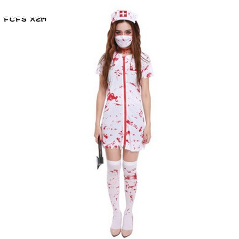 New Female Nurse Doctor Cosplay Woman Halloween walking dead Costume Horrible bloody Zombie Role play Carnival Purim party dress