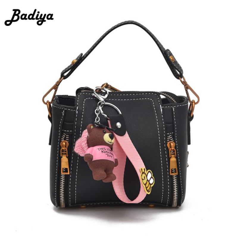 Fashion Pink Strap Bucket Bag Women High Quality Pu Leather Shoulder Bag Ladies Crossbody Bags With Bear Ornaments