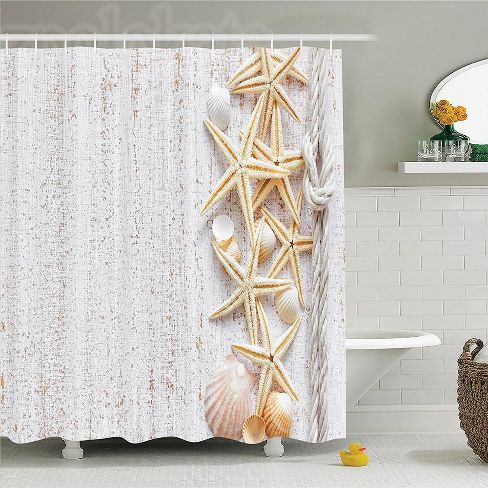 Rustic Nautical Bathroom Decor: White Shower Curtain Seashells Decor Beach House Shells