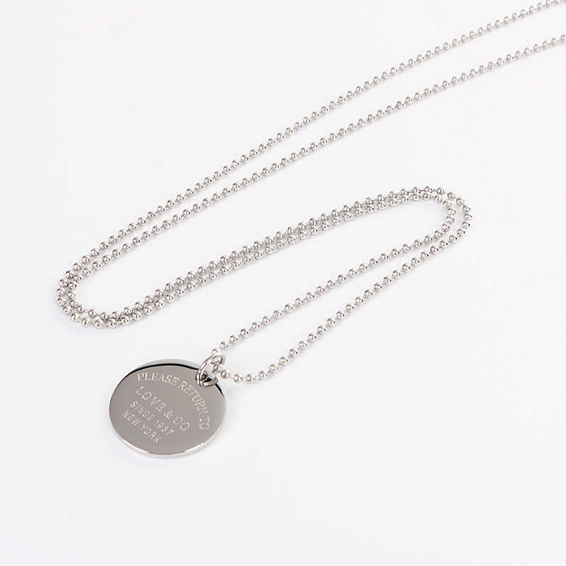 New Long Necklace For Women Stainless Steel Pendants Silver Color Bead Chain Round Coin Disc Collares Charm Tiff Fashion Jewelry