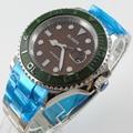 Bliger 40 мм кофе циферблат даты зеленый керамический Безель светящийся saphire стекло автоматическое движение Мужские часы