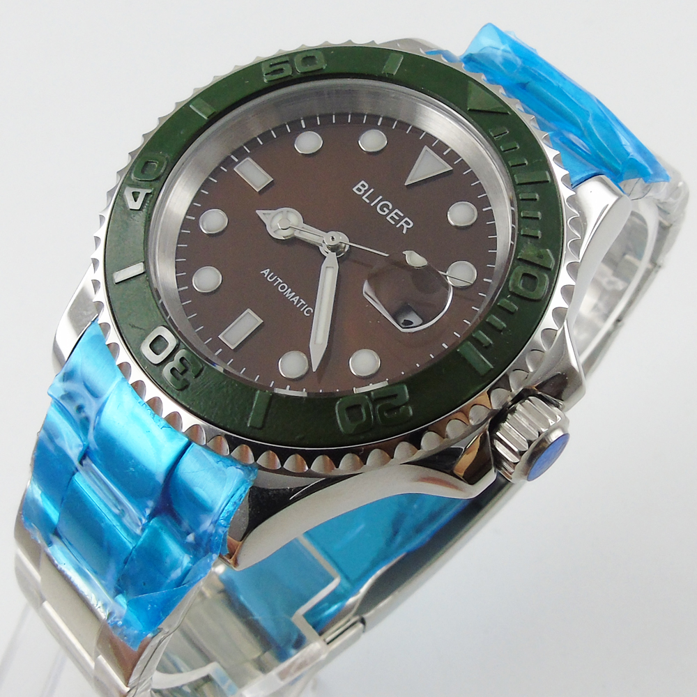 лучшая цена Bliger 40mm coffee dial date green Ceramics Bezel luminous saphire glass Automatic movement Men's watch