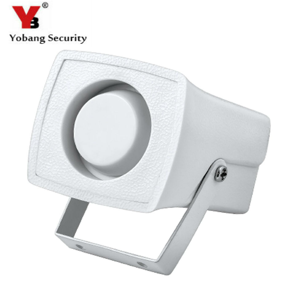 YobangSecurity Hot Selling Mini Horn White Alarm Siren 105db sound alarm DC12V Wired Indoor Siren for Home house alarm system ac110v 160db motor driven air raid siren metal horn industry boat alarm